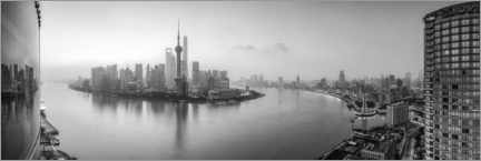 Poster Premium  Panorama dell'orizzonte di Pudong a Shanghai - Jan Christopher Becke
