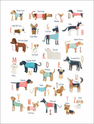 Poster Premium Dogs with clothes alphabet