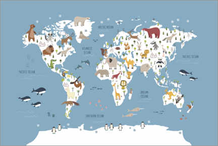 Poster Premium World map with animals (blue)