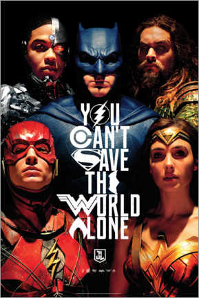 Poster Premium  Justice League - Can't save the world alone