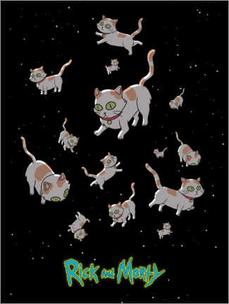 Poster Premium  Rick and Morty - Gatti spaziali