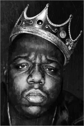 Stampa su tela  Biggie Smalls, bianco e nero - Dmitry Belov