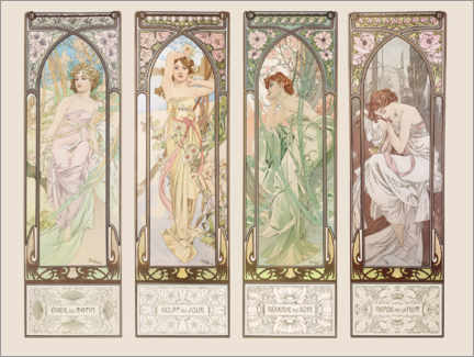 Adesivo murale  The Times of the Day - Alfons Mucha