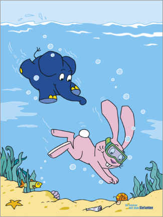 Stampa su PVC  Elephant and rabbit under water