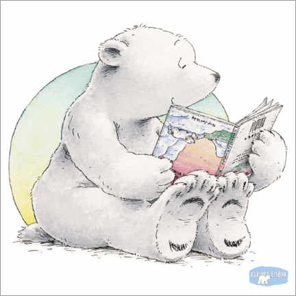 Poster Premium  The little polar bear Lars is reading a book