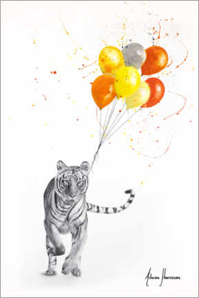 Poster Premium The Tiger and The Balloons