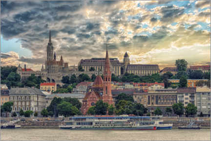 Poster Premium  Budapest in the evening - Manjik Pictures