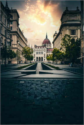 Poster Premium  Budapest in Hungary, streets to Parliament - Jan Wehnert