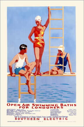 Stampa su legno  Open Air Swimming Baths for Londoners - English School