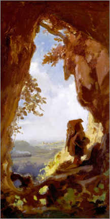Stampa su plexi-alluminio  Gnome, looking at the first railway out of a cave - Carl Spitzweg