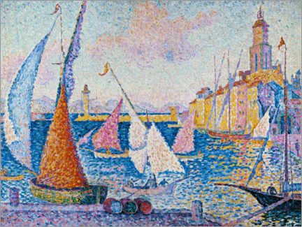 Poster Premium  Sailing boats in the harbour of Saint Tropez - Paul Signac