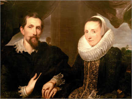 Stampa su alluminio  Portrait of the painter Frans Snydersand his wife - Anthonis van Dyck
