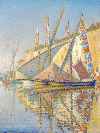 Poster Premium  Sailing boats at the port of Saint Tropez - Paul Signac