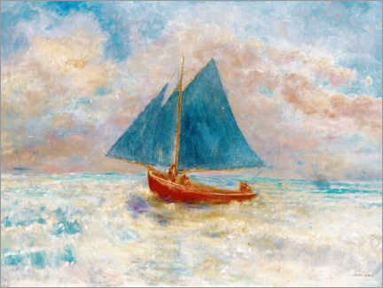 Poster Premium  Red boat with blue sails - Odilon Redon