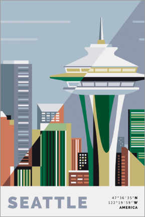 Adesivo murale  space needle seattle - Nigel Sandor