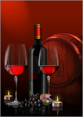 Adesivi murali  Two wine glasses with red wine bottle and grapes - Kalle60