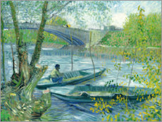 Stampa su plexi-alluminio  Angler and boat at the Pont de Clichy - Vincent van Gogh