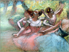 Stampa su plexi-alluminio  Four ballerinas on the stage - Edgar Degas