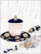 Adesivo murale  A Pot of Tea and Keys - Katsushika Hokusai