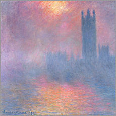 Stampa su plexi-alluminio  The Houses of Parliament - Claude Monet