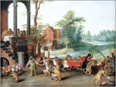 Adesivo murale  A Satire of the Folly of Tulip Mania - Jan Brueghel d.Ä.