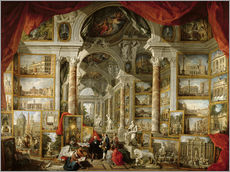 Stampa su plexi-alluminio  Gallery with Views of Modern Rome - Giovanni Paolo Pannini