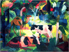 Stampa su plexi-alluminio  Landscape with Cows and a Camel - August Macke