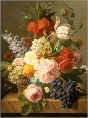 Stampa su plexi-alluminio  Still Life with Flowers and Fruit - Jan Frans van Dael