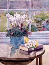 Stampa su plexi-alluminio  Flowers and Book on Table - Julia Rowntree