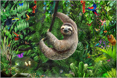 Adesivi murali  Sloth in the jungle - Adrian Chesterman