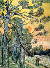 Adesivo murale  Pines with Setting Sun and Woman - Vincent van Gogh