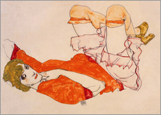 Adesivi murali  Wally in a red blouse with knees lifted up - Egon Schiele