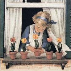 Adesivo murale  Potting tulips - Jessie Willcox Smith