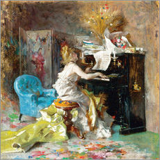 Stampa su plexi-alluminio  Woman at a piano - Giovanni Boldini