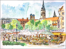 Stampa su plexi-alluminio  Munich Food Market Square Day in Summer Aquarell - M. Bleichner