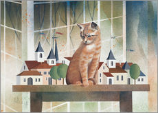 Stampa su plexi-alluminio  View of the cat - Franz Heigl