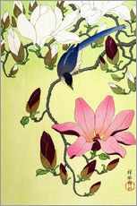 Adesivo murale  Magpie with Pink and White Magnolia Blossoms - Ohara Koson