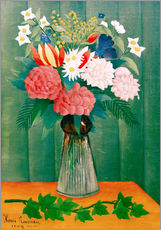 Stampa su plexi-alluminio  Bouquet of flowers with a branch of ivy - Henri Rousseau