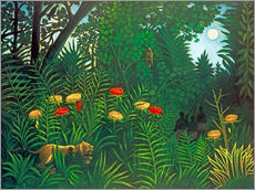 Stampa su plexi-alluminio  Exotic landscape with tiger and hunters - Henri Rousseau