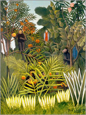 Adesivo murale  Exotic Landscape with monkeys and a parrot - Henri Rousseau