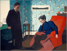 Stampa su legno  Interior With Red Armchair and Figures - Felix Edouard Vallotton