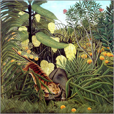 Stampa su plexi-alluminio  Combat of Tiger and Buffalo - Henri Rousseau