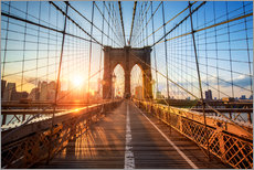 Stampa su plexi-alluminio  Ponte di Brooklyn a NY all'alba - Jan Christopher Becke