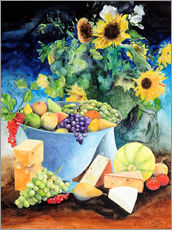 Adesivo murale  Still life with sunflowers, fruits and cheese - Gerhard Kraus