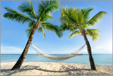 Stampa su plexi-alluminio  Hammock at the beach with palm trees in the south pacific - Jan Christopher Becke