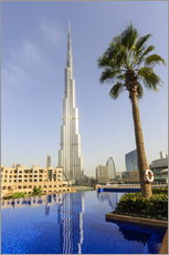 Stampa su plexi-alluminio  Pool and Burj Khalifa - Amanda Hall