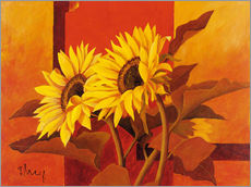Stampa su plexi-alluminio  Two sunflowers III - Franz Heigl