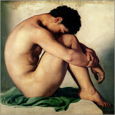 Adesivo murale  Study of a Nude Young Man - Hippolyte Flandrin