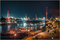 Adesivo murale  Kaiser Wilhelm Bridge and marina in Wilhelmshaven from above - Rainer Ganske