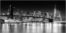 Stampa su plexi-alluminio  Skyline di New York City con ponte di Brooklyn (in bianco e nero) - Sascha Kilmer
